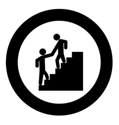 man helping climb other man black icon in circle vector image