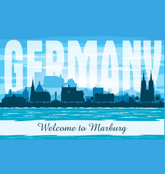 marburg germany city skyline silhouette vector image