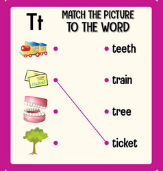match picture to word worksheet for vector image