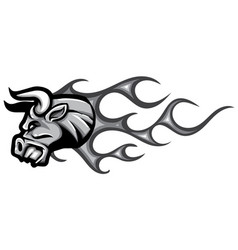 Monochromatic head bull with flames vector