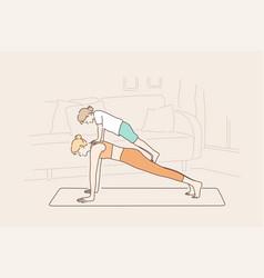 Motherhood workout childhood sport concept vector