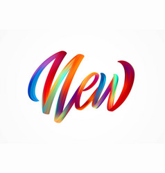 new word-sign modern colorful flow lettering vector image