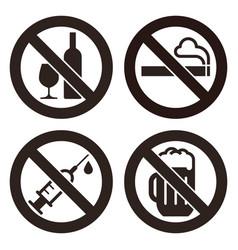 no alcohol sign no smoking sign no alcohol sign vector image