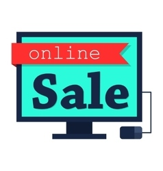 Online sale flat vector