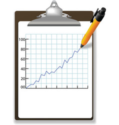 pen drawing financial growth chart clipboard vector image