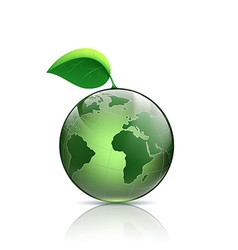 Planet earth with green leaf vector
