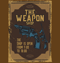 Poster design with a gun on dusty background vector
