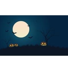 Pumpkins and bat at night scenery Halloween vector