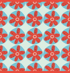 Retro flowers seamless background 1960s vector