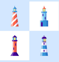 sea lighthouse icons set in flat style vector image