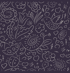 Seamless pattern outline doodles bird flowers vector