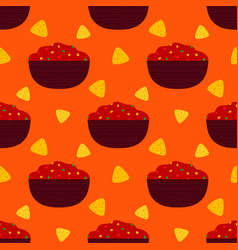 Seamless pattern with salsa and nachos vector