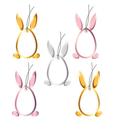 set 5 easter hangtags eggs bunny ears feet frame vector image
