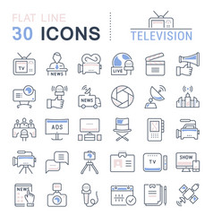set flat line icons television vector image