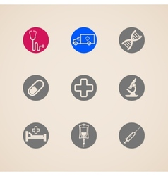 set of icons with medical items vector image