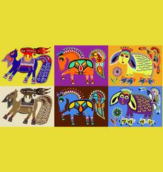 set of indian kalamkari style tribal ethnic vector image