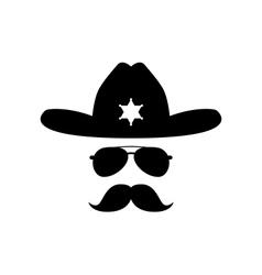 Sheriff with bushy mustache vector