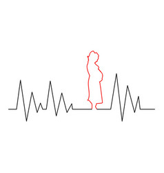 silhouette of a pregnant woman cardiogram effect vector image
