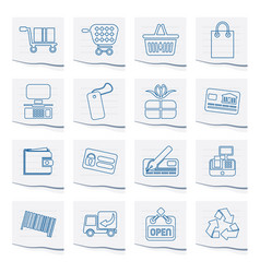 simple online shop icons on a piece of paper vector image