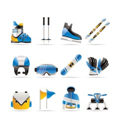 ski and snowboard icons vector image