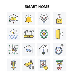 smart home icons with long shadow vector image
