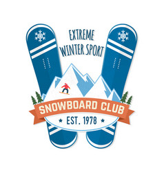 Snowboard club concept for vector