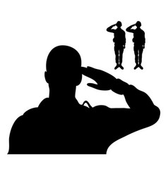 Soldiers saluting figures silhouettes icons vector