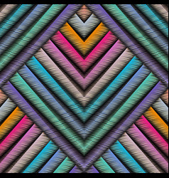Striped embroidery 3d geometric seamless pattern vector