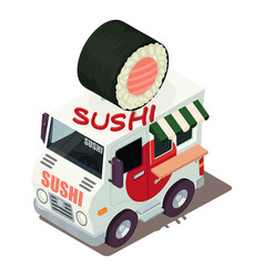 Sushi machine icon isometric style vector