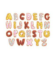 Sweet cookie english alphabet edible bakery vector