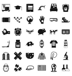 swiss things icons set simple style vector image