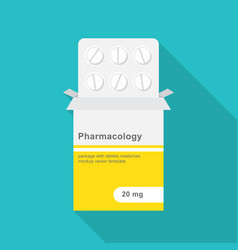tablets in blister pack with paper box packaging vector image