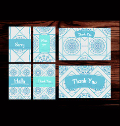 thank you miss you sorry cards set isolated on vector image