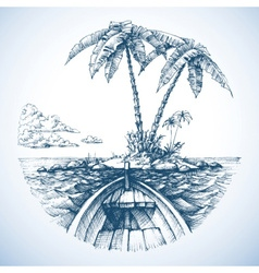 tropical island in ocean with palm trees view vector image