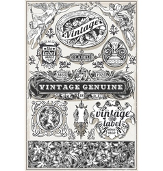 Vintage hand drawn retro labels vector