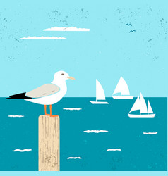 vitage poster with seagull and ships vector image