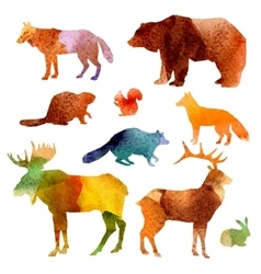 Watercolor Animals Set vector image