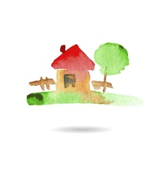 Watercolor hand drawn village house vector