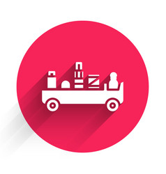 White airport luggage towing truck icon isolated vector