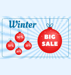 Winter sale banner flat style vector