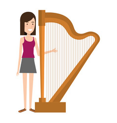 woman playing harp character vector image