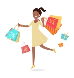 Woman Shopping Lady Carries Paper Bags Hot Sale vector