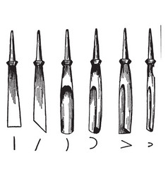 Wood carving tools vintage vector