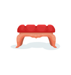 wooden bench with red velvet upholstery interior vector image