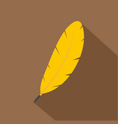 Yellow feather pen icon flat style vector