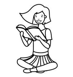 Young student girl sitting reading book vector