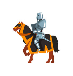 brave knight in steel armor with sword and shield vector image vector image