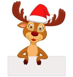 Cute deer cartoon with blank sign vector image vector image