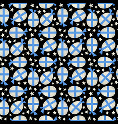 egg with blue bow seamless pattern vector image