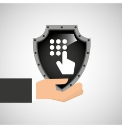 hand holding password security shield data vector image vector image